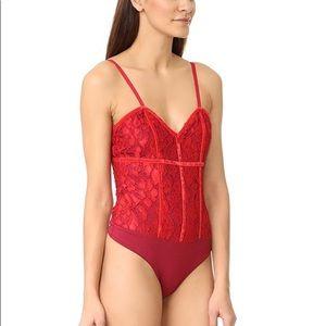 Lovers + Friends Red Lace & Velvet bodysuit